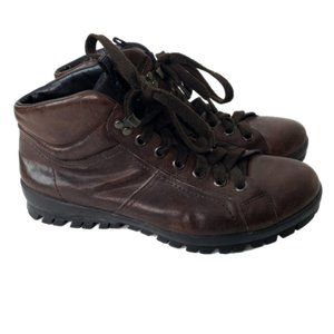 Prada Leather Hiking Boots Brown Lace Up